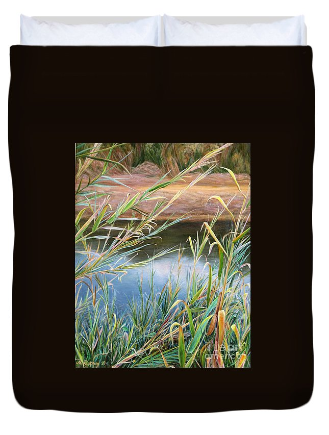 Bushes Duvet Cover featuring the painting Through The Thickets by Maya Bukhina
