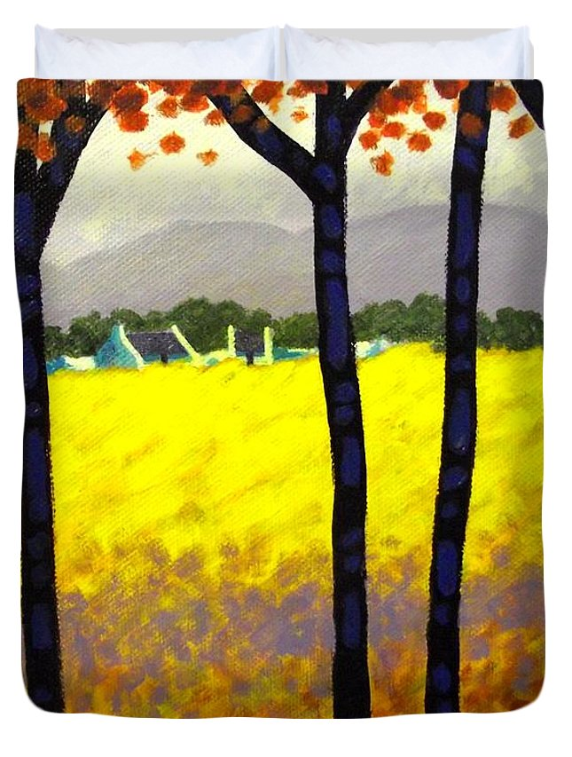 Landscape Duvet Cover featuring the painting Through The Trees by John Nolan