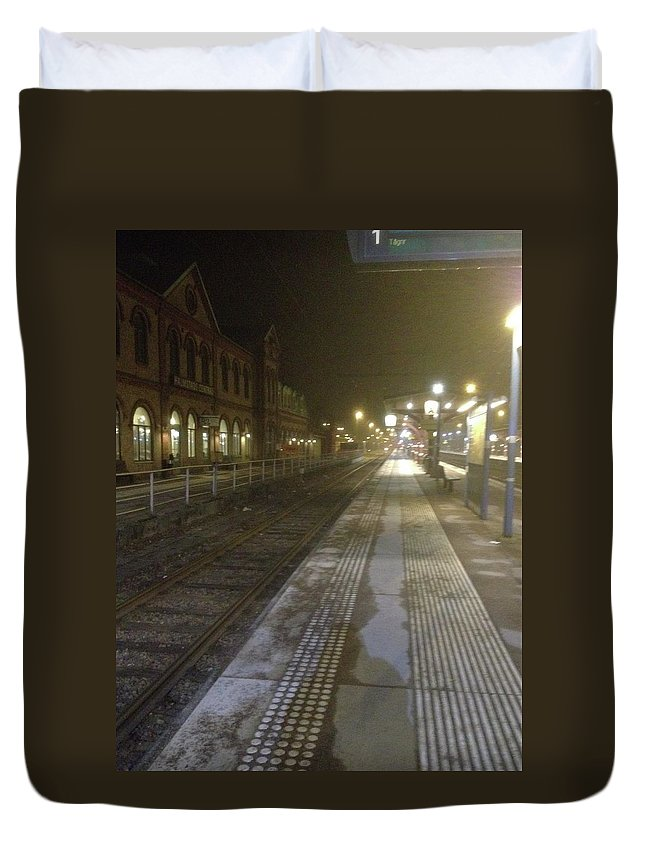 Halmstade Central Train Station Duvet Cover featuring the photograph Thrown Off The Train by Kat Cortez