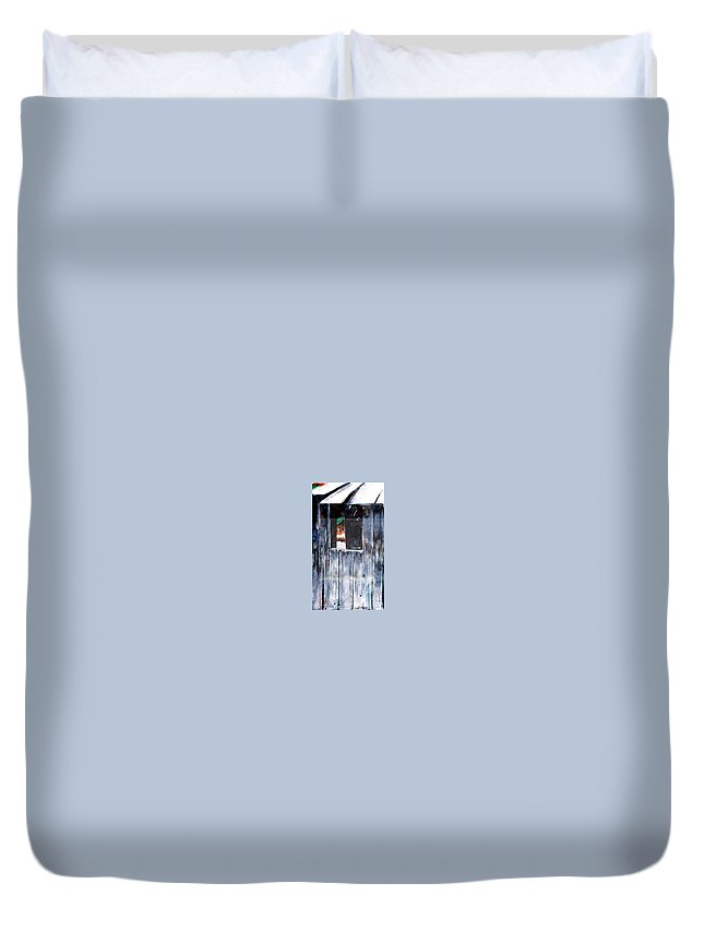 An Old Mysterious Barn With Deep Dark Shadows And Secrets. Rustic And Moody. Duvet Cover featuring the drawing Thru the Barn Window by Seth Weaver