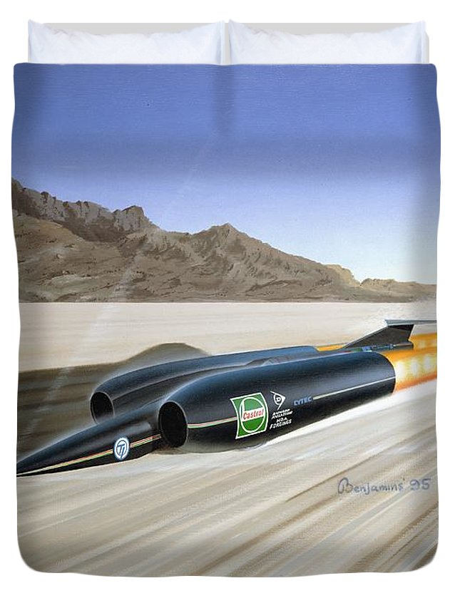 Record Breaking Paintings Duvet Cover featuring the painting Thrust S S C - Mach 1 by Arthur Benjamins