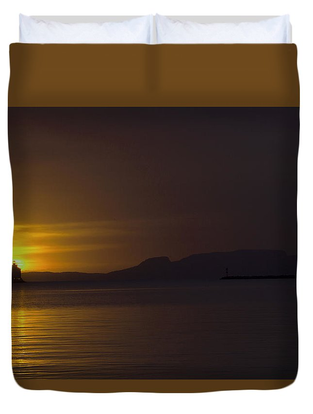 Sleeping Giant Silhouette Sunrise Light House Main Summer Waterfront Thunder Bay Ontario Canada Water Sun Waver Seagull Ducks Orange Red Black White Yellow Sunrays Hope Landscape Photography Clouds Warm Summers Day October 2015 Duvet Cover featuring the photograph Thunder Bay Sunrise by Chris Artist