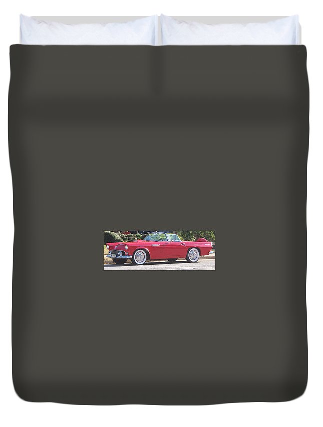 Thunderbird Duvet Cover featuring the painting Thunderbird Classic 1955 by Eric Schiabor