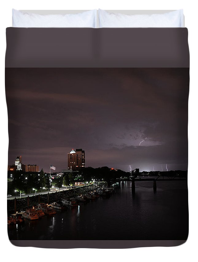Augusta Duvet Cover featuring the pyrography Thunderbolt And Lighning by Joseph Johns