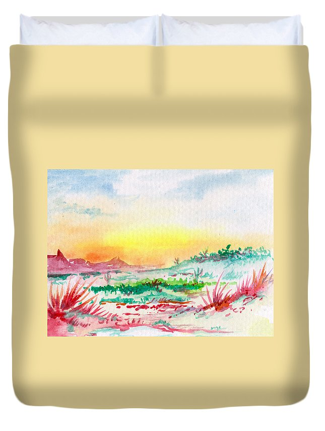 Desert Duvet Cover featuring the painting Thursday by Keith Spence