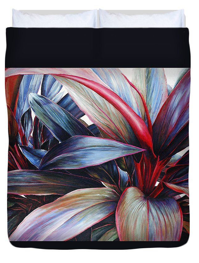 Acrylic Duvet Cover featuring the painting Ti In Blue by Sandra Blazel - Printscapes