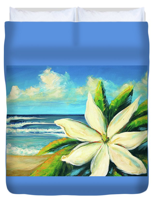 Flower Duvet Cover featuring the painting Tiare by Hanako Hawaii
