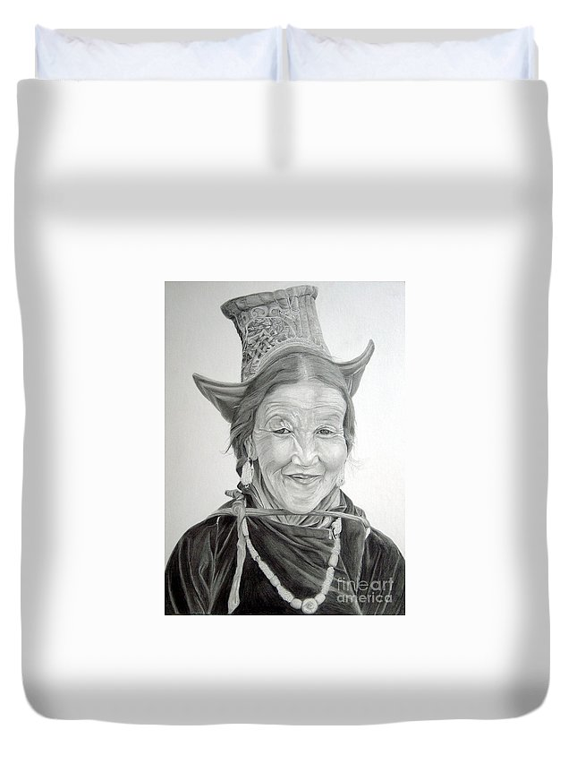 Figurative Art Duvet Cover featuring the drawing Tibetan Delight by Portraits By NC