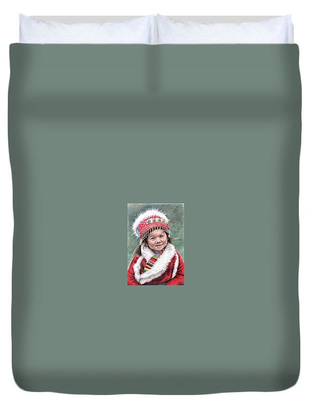Girl Duvet Cover featuring the drawing Tibetan Girl by Nicole Zeug
