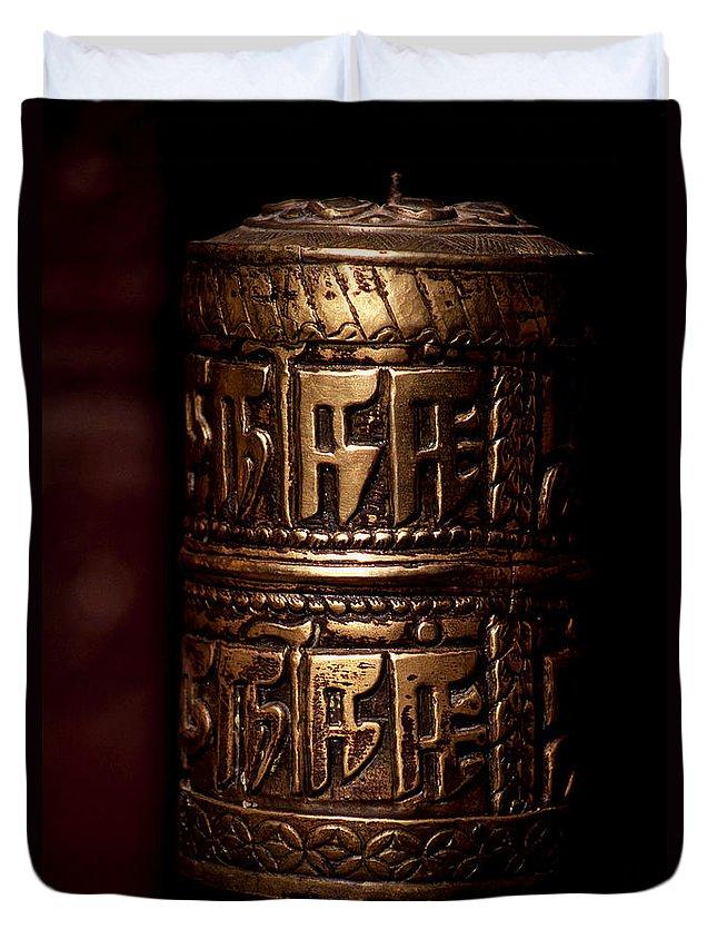 Prayer Wheel Duvet Cover featuring the photograph Tibetan Prayer Wheel by Patrick Klauss