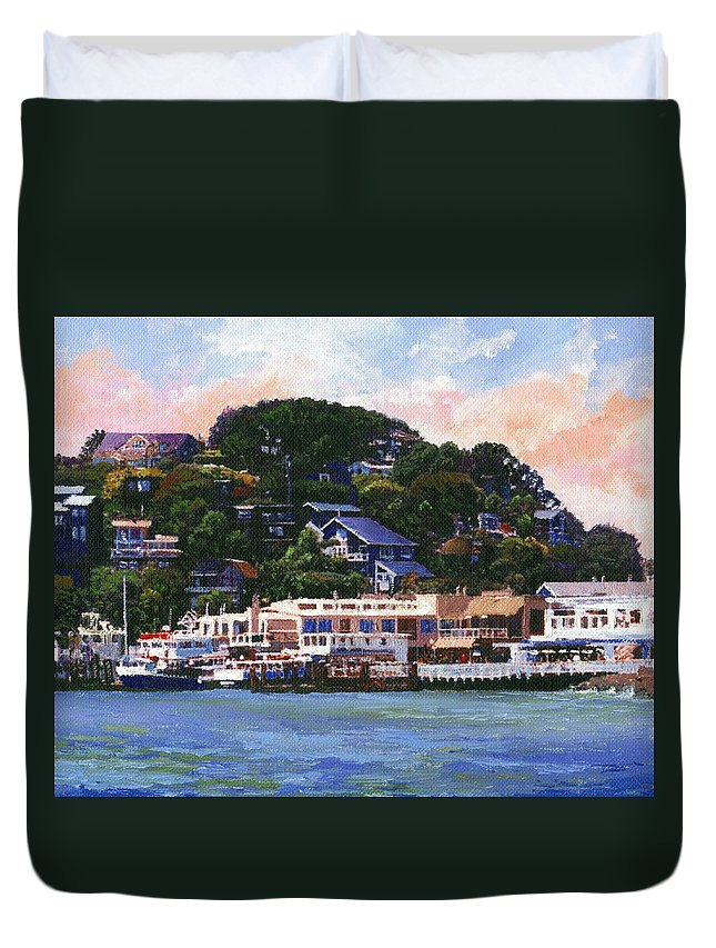 Landscape Duvet Cover featuring the painting Tiburon California Waterfront by Frank Wilson