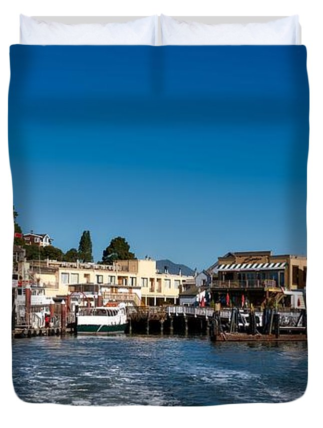 Tiburon Duvet Cover featuring the photograph Tiburon Waterfront by Mountain Dreams