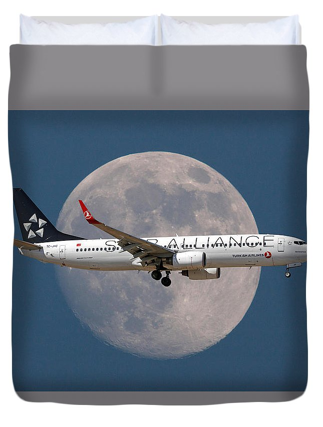 Star Alliance Duvet Cover featuring the photograph Ticket To The Moon by Smart Aviation