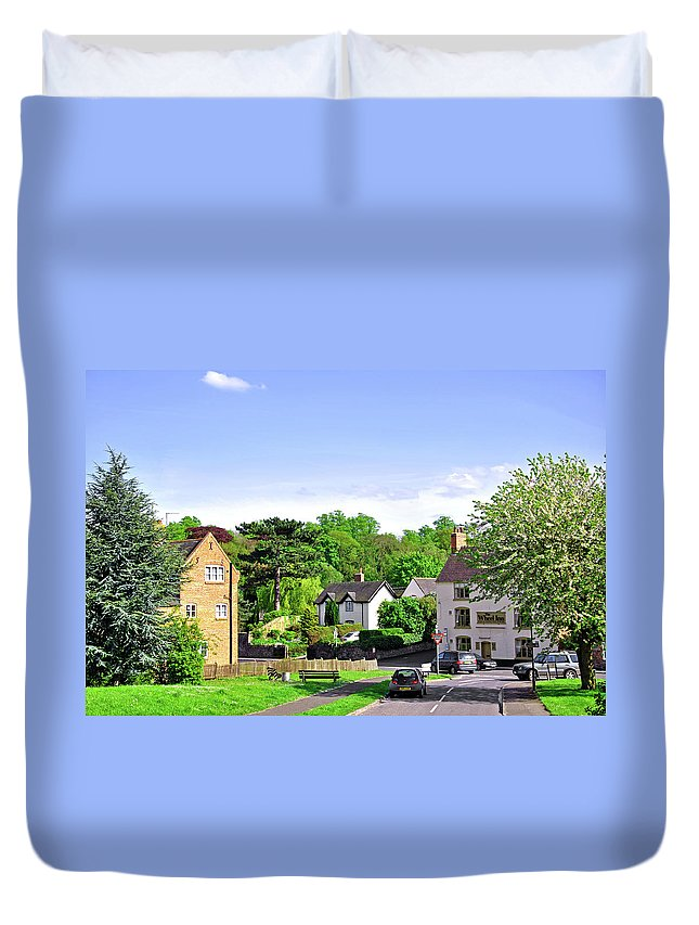 Fence Duvet Cover featuring the photograph Ticknall Village From Ingleby Lane by Rod Johnson