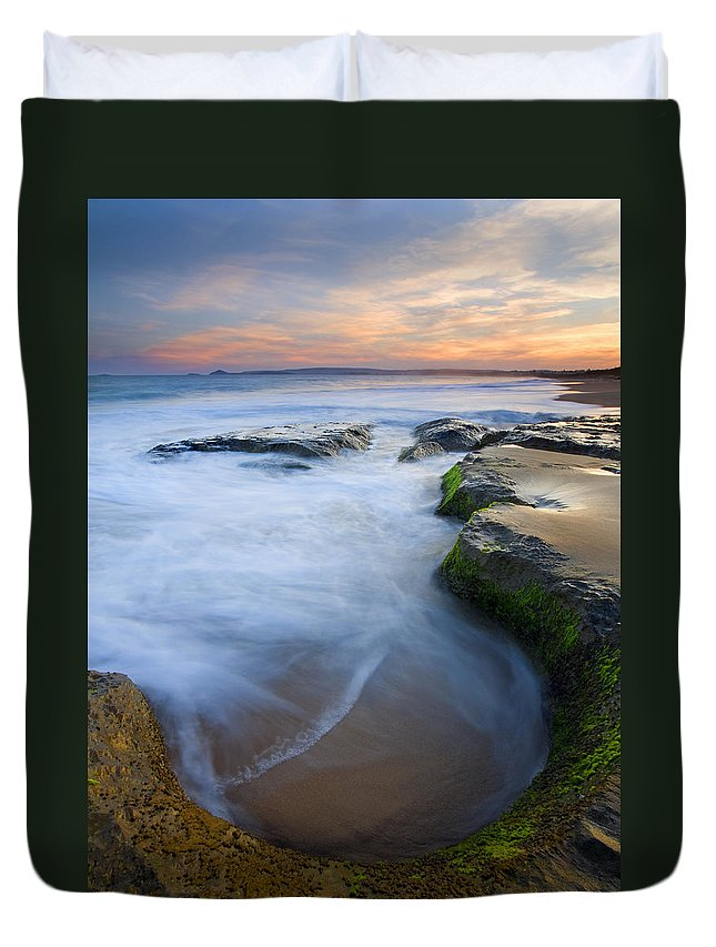 Beach Duvet Cover featuring the photograph Tidal Bowl by Mike Dawson