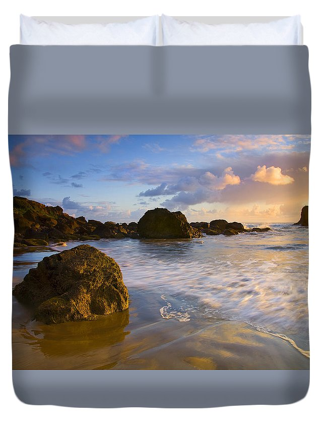 Beach Duvet Cover featuring the photograph Tidal Flow by Mike Dawson