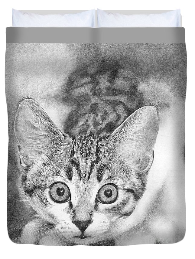 Cat Duvet Cover featuring the drawing Tiddles by Karen Townsend