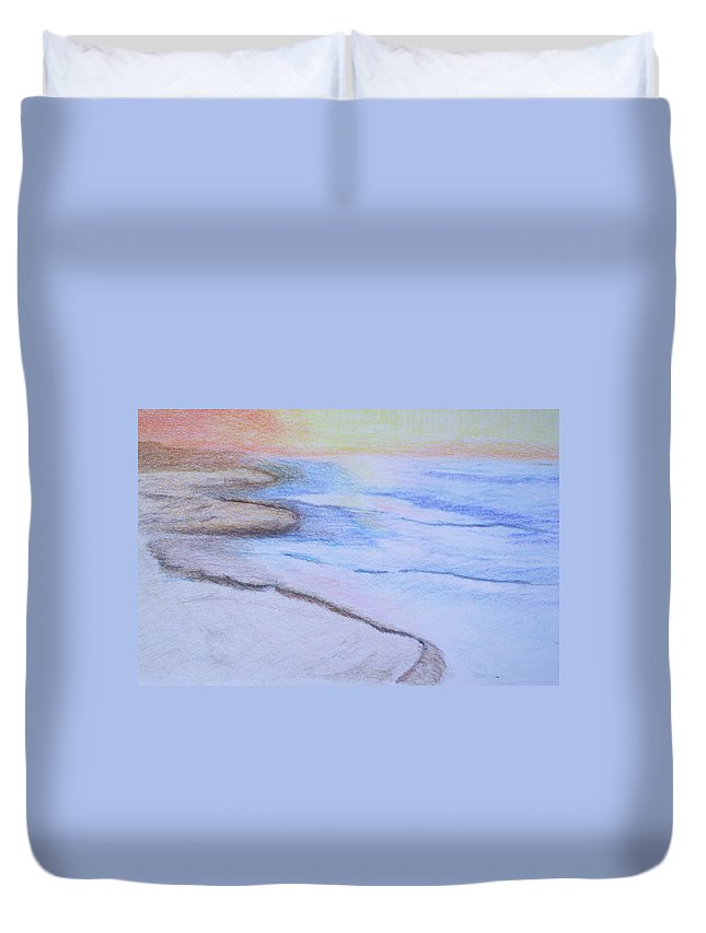 Landscape Duvet Cover featuring the drawing Tide Is Out by Suzanne Udell Levinger