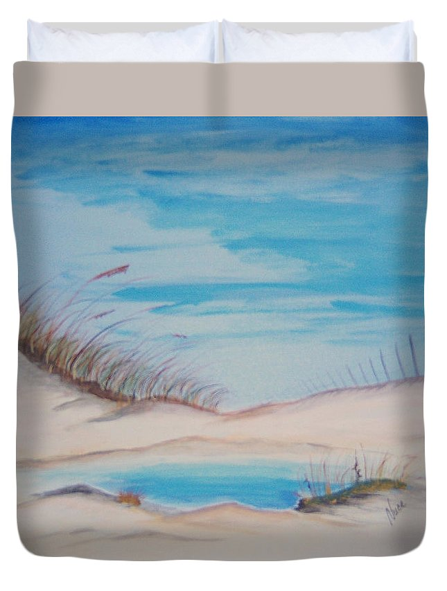 Sand Duvet Cover featuring the painting Tide Pool by Nancy Nuce