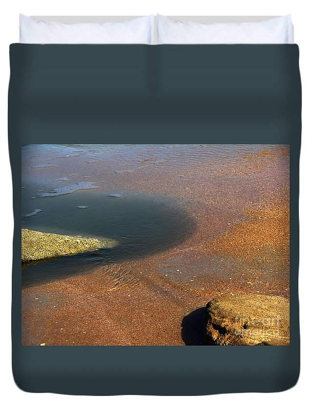 Tide Pool Duvet Cover featuring the photograph Tide Pool With Coquina Rock by Julianne Felton