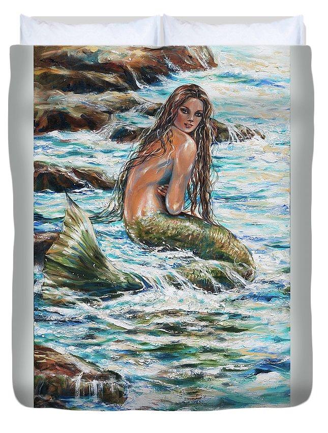 Mermaid Duvet Cover featuring the painting Tidepool by Linda Olsen