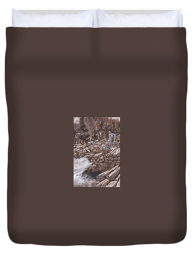 Western Duvet Cover featuring the painting Tie Hack Historical Vignette From River Mural by Dawn Senior-Trask