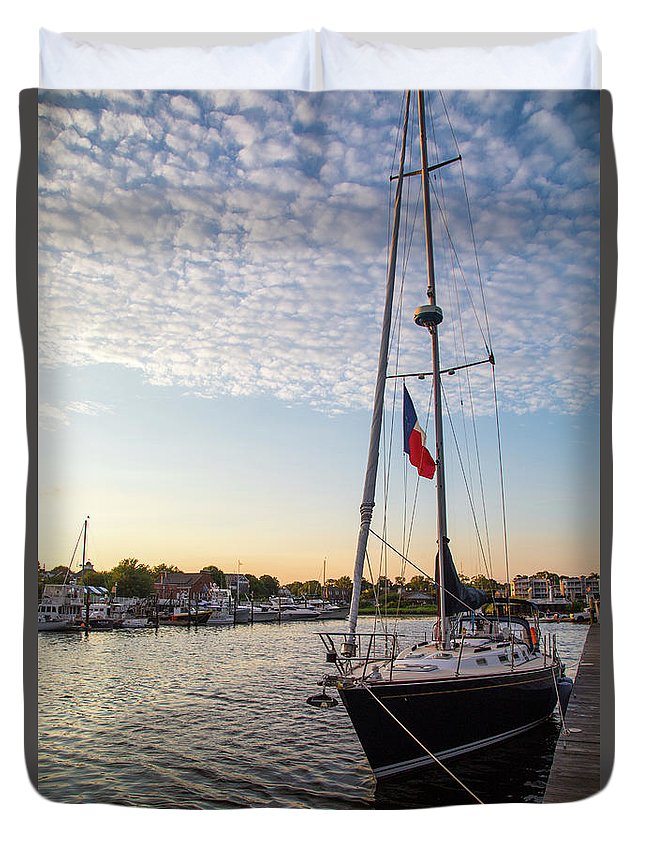 Sails At Dock Duvet Cover featuring the photograph Tied Off For The Night by Karol Livote