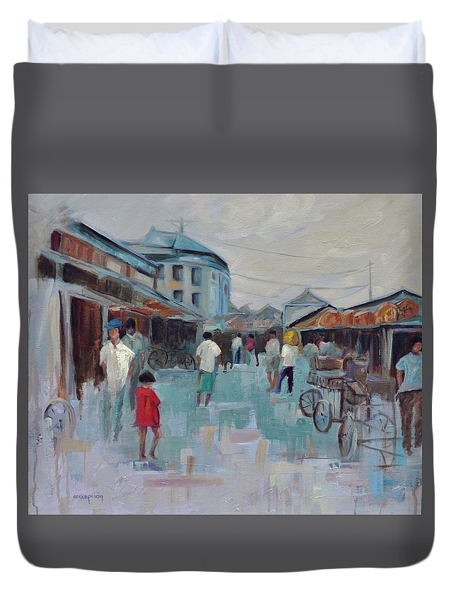 Taipei Villages Duvet Cover featuring the painting Tien Mou Village Taipei by Ginger Concepcion