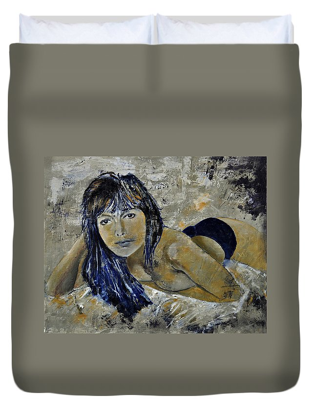 Girl Duvet Cover featuring the painting Tiffany 45 by Pol Ledent