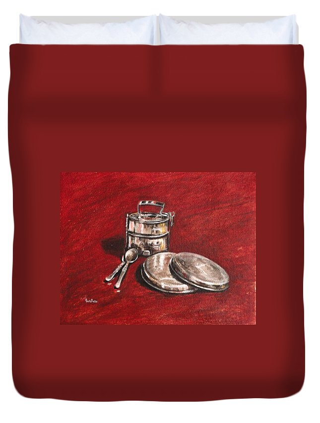 Tiffin Duvet Cover featuring the painting Tiffin Carrier - Still Life by Usha Shantharam