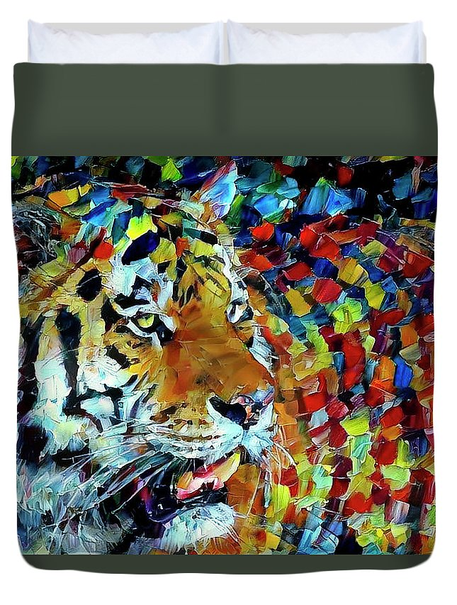 Tiger Duvet Cover featuring the digital art Tiger Big Colors by Yury Malkov