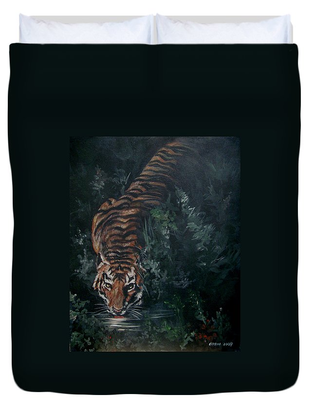Tiger Duvet Cover featuring the painting Tiger by Bryan Bustard