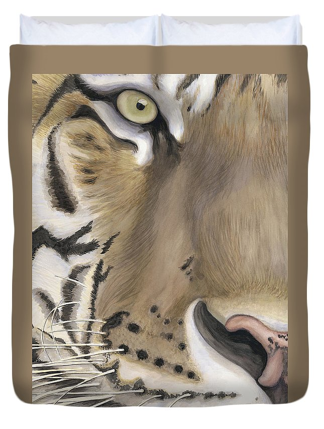 Tiger Duvet Cover featuring the painting Tiger Face by Patty Vicknair