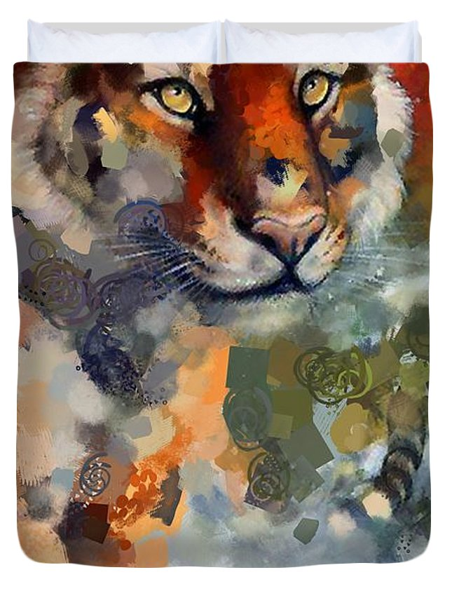 Tiger Hotty Totty Style Duvet Cover featuring the digital art Tiger Hotty Totty Style by Catherine Lott
