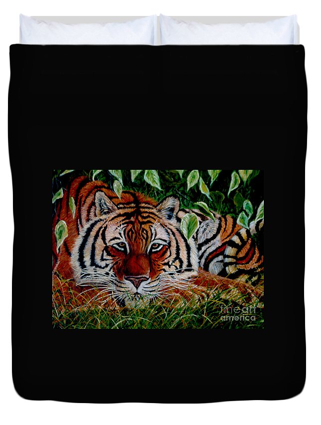 Tiger Duvet Cover featuring the painting Tiger In Jungle by Nick Gustafson