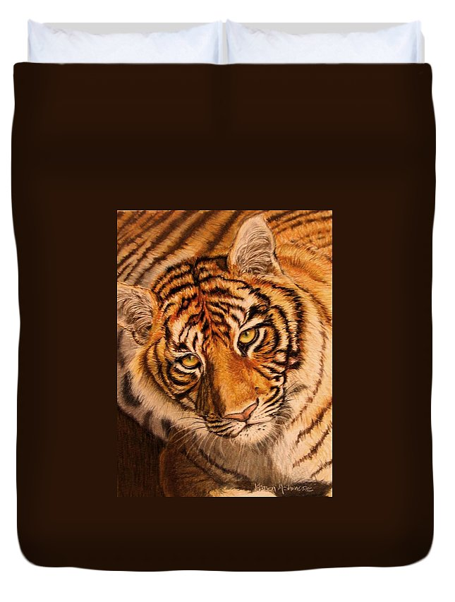 Tiger Duvet Cover featuring the drawing Tiger by Karen Ilari