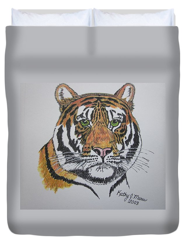 Bengal Duvet Cover featuring the painting Tiger by Kathy Marrs Chandler