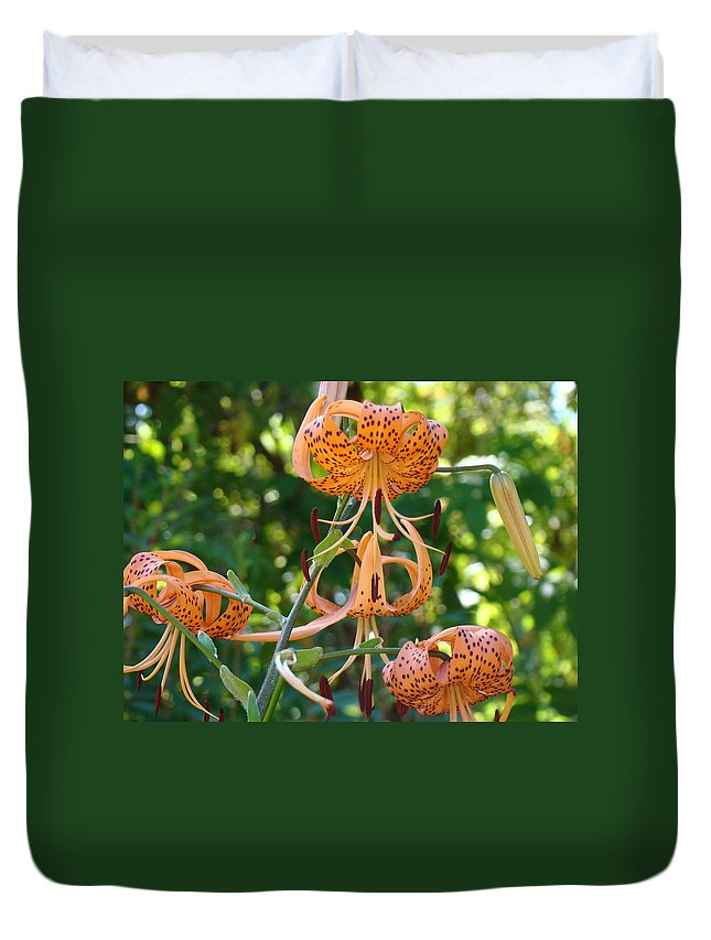 Lilies Duvet Cover featuring the photograph Tiger Lilies Art Prints Canvas Summer Tiger Lily Flowers by Baslee Troutman