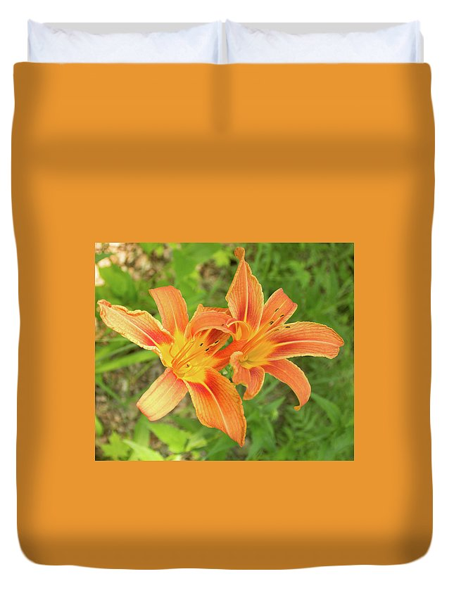 Tiger Lily Duvet Cover featuring the photograph Tiger Lilies by Lori Lynn Sadelack