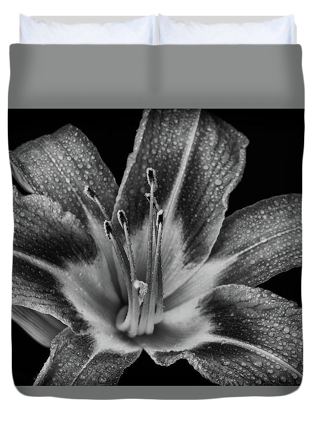 Lily Duvet Cover featuring the photograph Tiger Lily - Black And White by Greg Thiemeyer