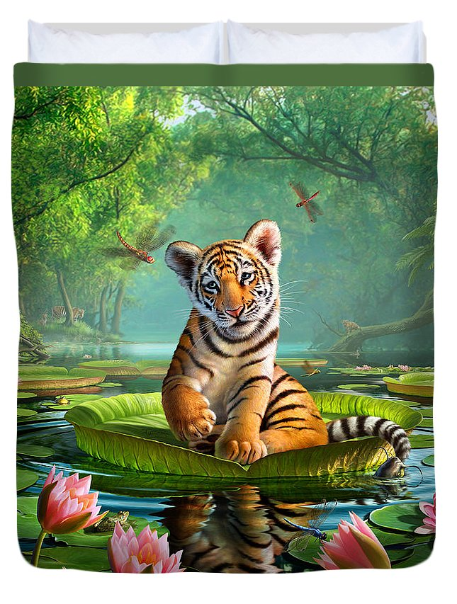 Tiger Duvet Cover featuring the digital art Tiger Lily by Jerry LoFaro
