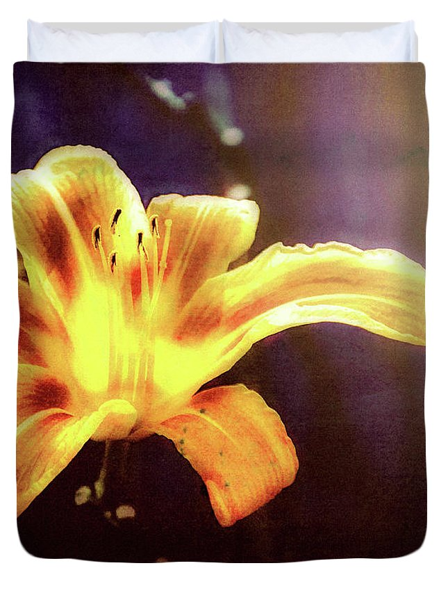 Flowers Duvet Cover featuring the photograph Tiger Lily On Waters Edge by Bob Orsillo