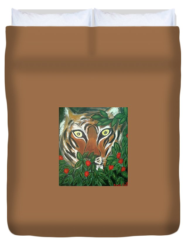Tiger Duvet Cover featuring the painting Tiger Prey by Rose Coit