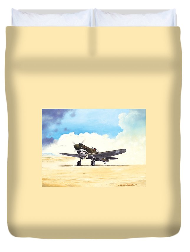 Aviation Duvet Cover featuring the painting Tiger Scramble by Marc Stewart