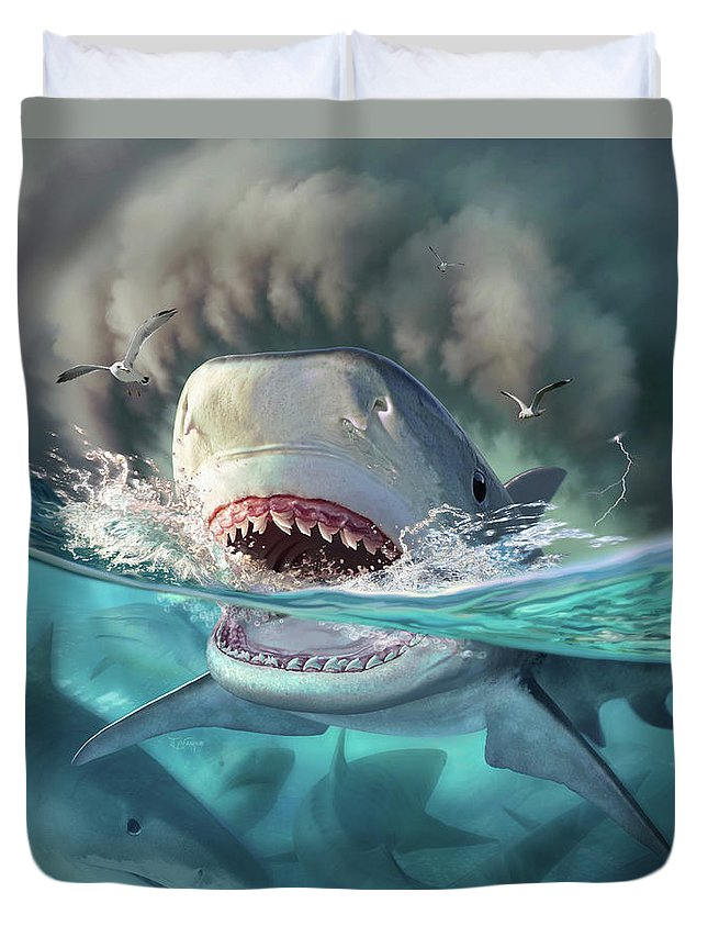 Shark Duvet Cover featuring the digital art Tiger Sharks by Jerry LoFaro