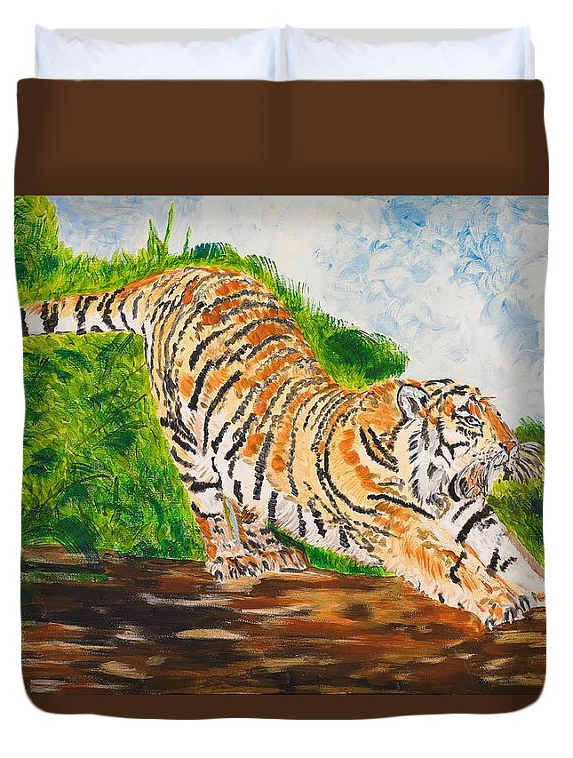 Cat Duvet Cover featuring the painting Tiger Stretching by Valerie Ornstein