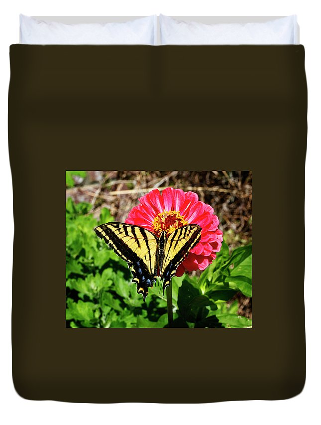 Yellow Duvet Cover featuring the photograph Tiger Swallowtail Butterfly by Marilyn Hunt