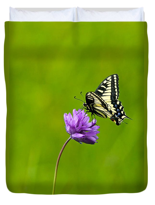 Flora Duvet Cover featuring the photograph Tiger Swallowtail by Randall Ingalls