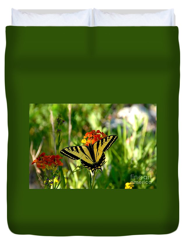 Tiger Tail Butterfly Duvet Cover featuring the photograph Tiger Tail Beauty by David Lee Thompson