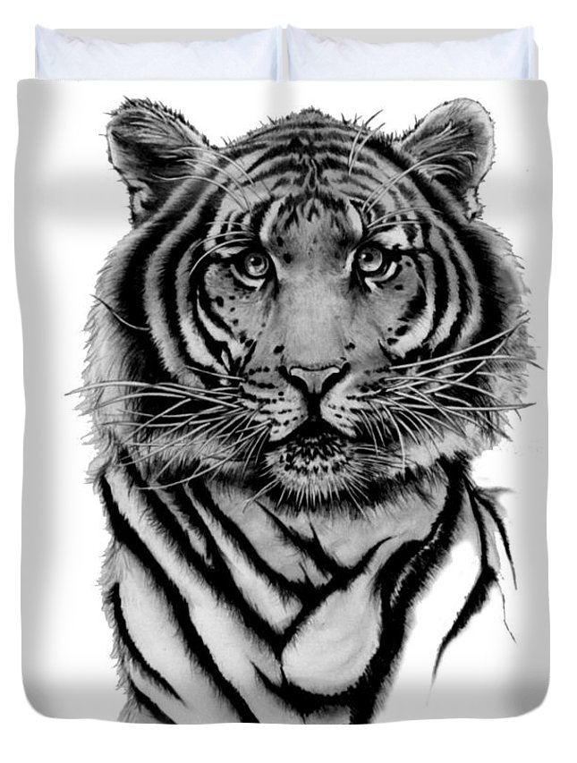 Tiger Duvet Cover featuring the drawing Tiger Tiger by Duke Windsor